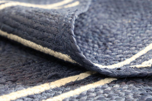 Artisan Navy Blue Natural Chevron Rug