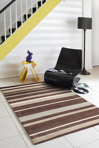 Stylish Stripe Rug Brown Beige