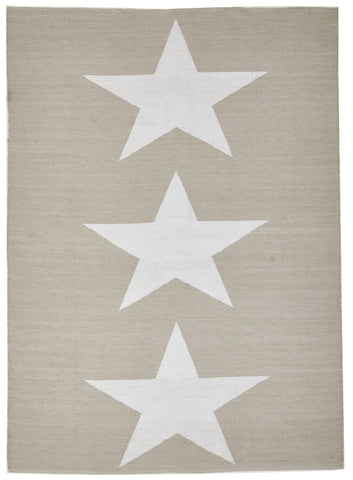 Coastal Indoor Out door Rug Star Taupe White - Floorsome