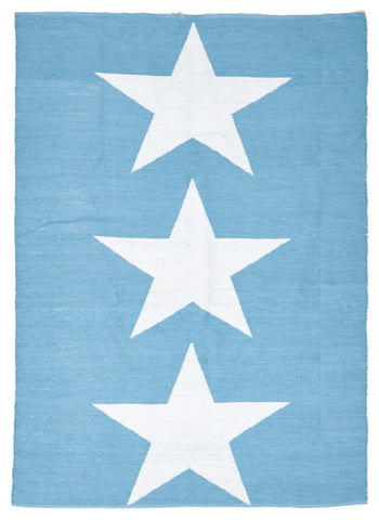 Coastal Indoor Out door Rug Star Turquoise White - Floorsome