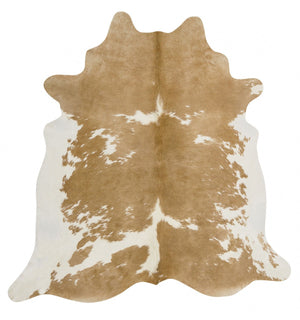 Exquisite Natural Cow Hide Beige White - Floorsome