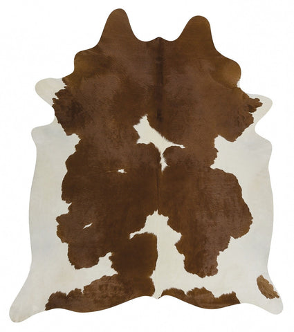 Exquisite Natural Cow Hide Brown White - Floorsome