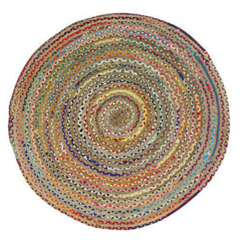 CHINDI RUG Indian Design Recycled Floor Rug, Round Small 1.2m