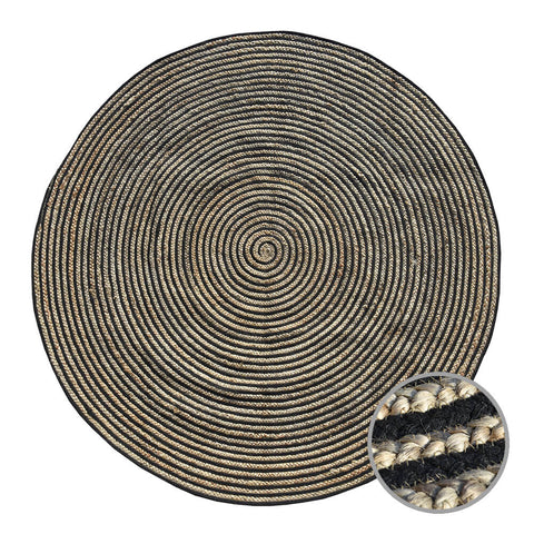 BLACK SABBATH Jute Indian Design Recycled Floor Rug, Natural & Black 1.8m - Floorsome