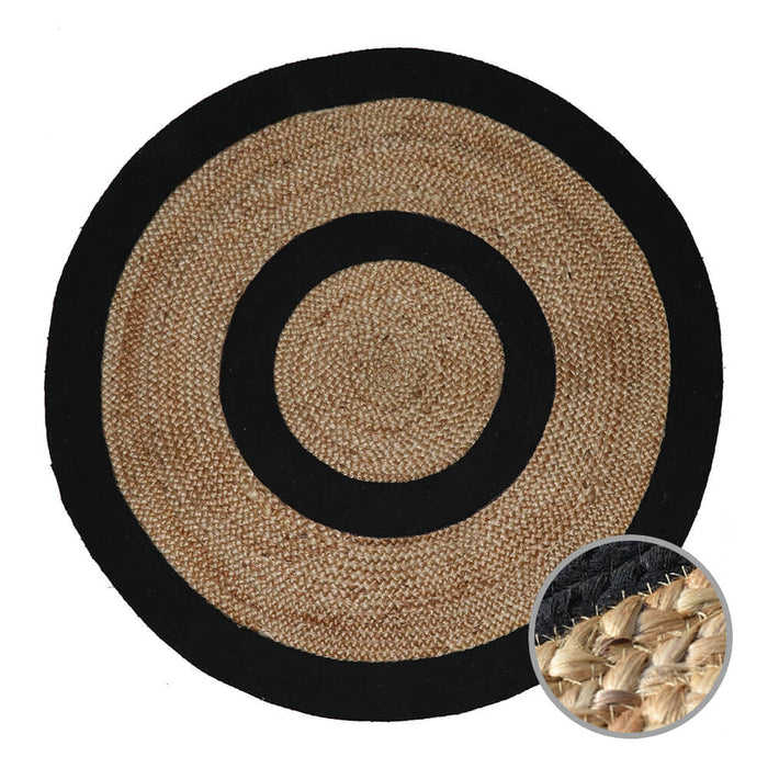 STRIPES Indian Design Recycled Floor Rug, Jute, Natural & Black 1.8m