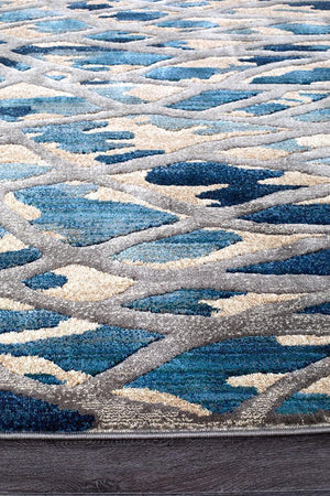 Ropes Modern Blue Runner Rug