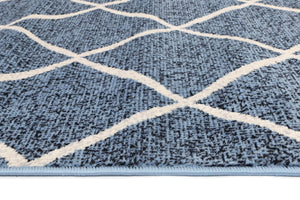 Dash Blue and Cream Cross Diamond Rug