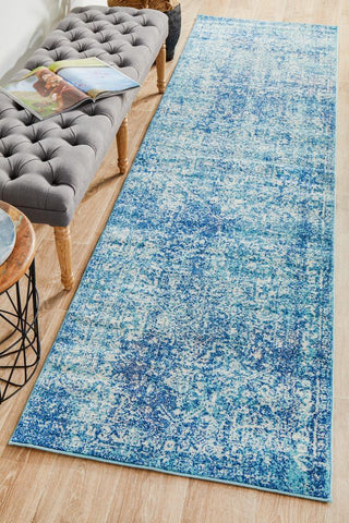 Muse Blue Transitional Runner Rug
