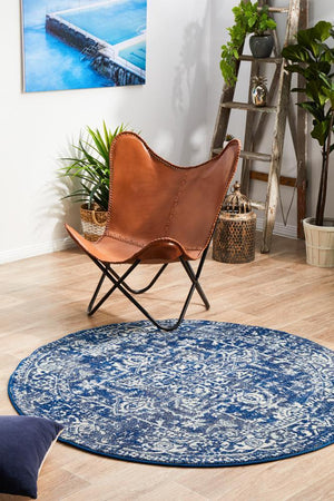 Contrast Navy Transitional Round Rug - Floorsome