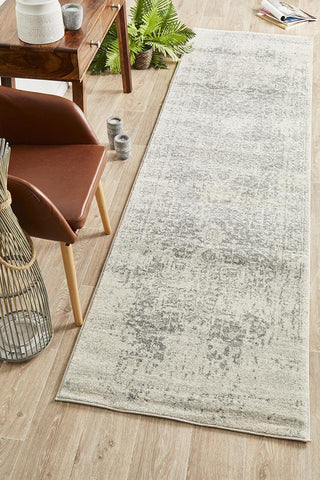 Dream White Silver Transitional Runner Rug
