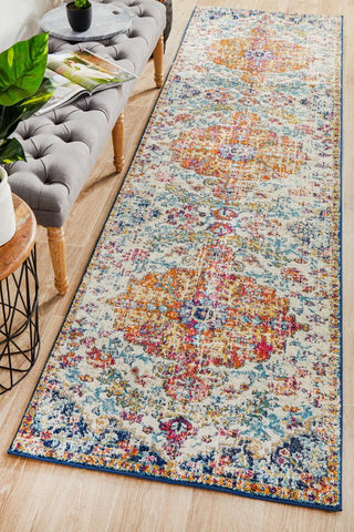 Carnival White Transitional Runner Rug - Floorsome