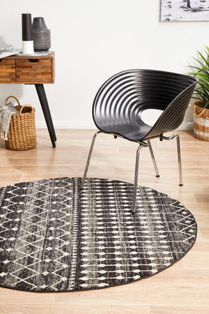 Simplicity Black Transitional Round Rug