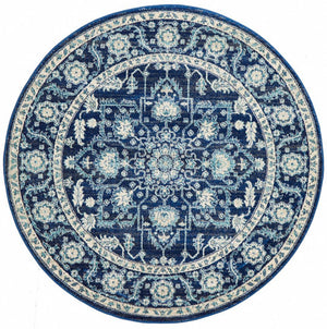 Release Navy Transitional Round Rug