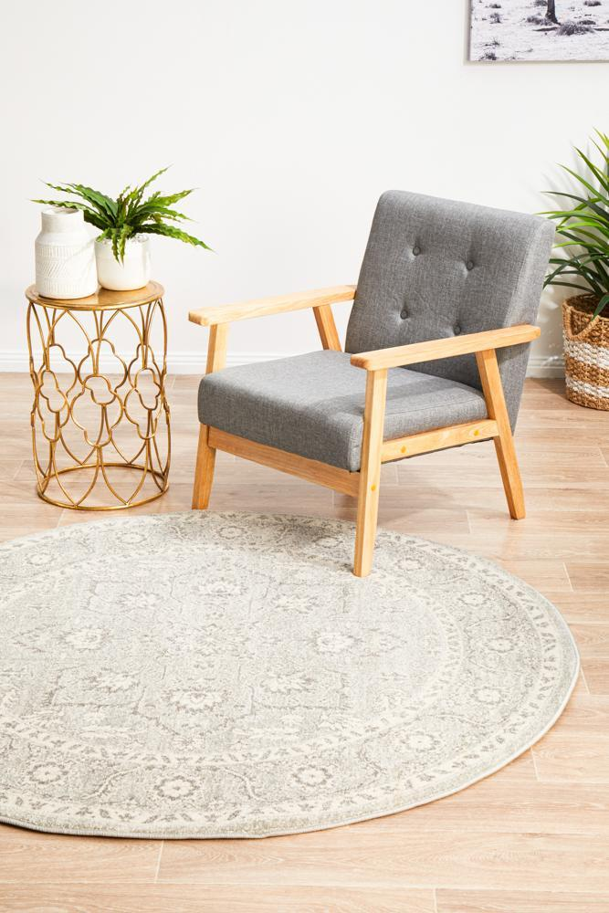 Silver Flower Transitional Round Rug