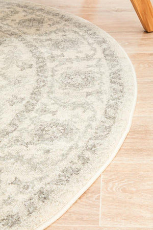 Winter White Transitional Round Rug