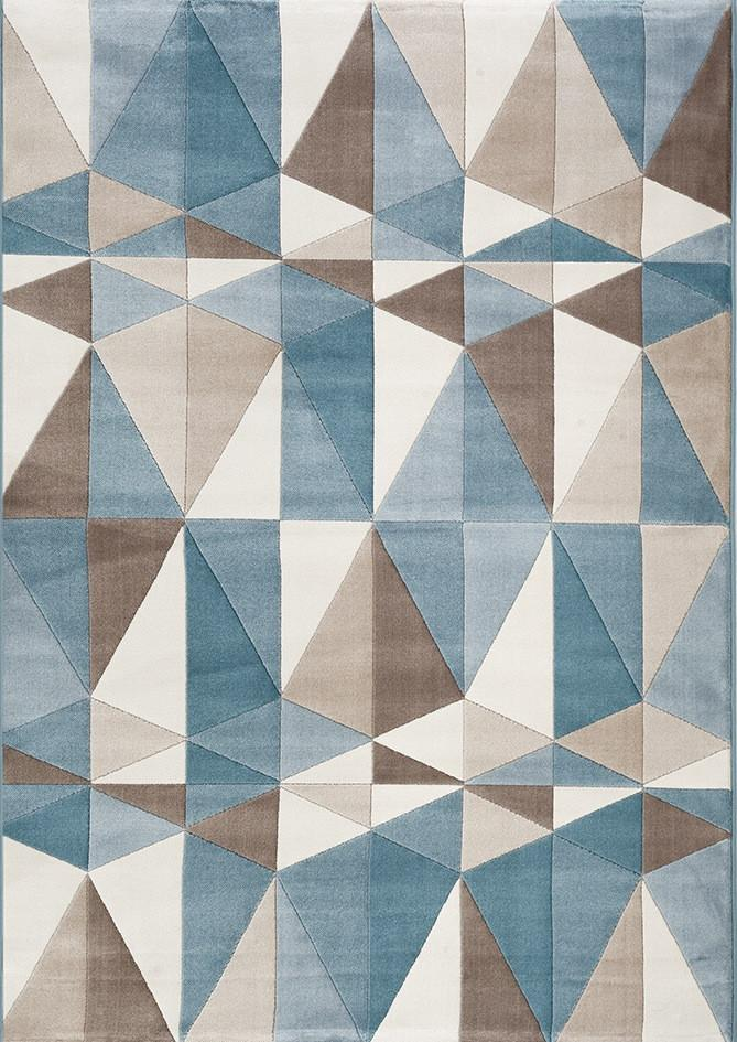 Fruzan Blue and Beige Geometric Traingle Rug