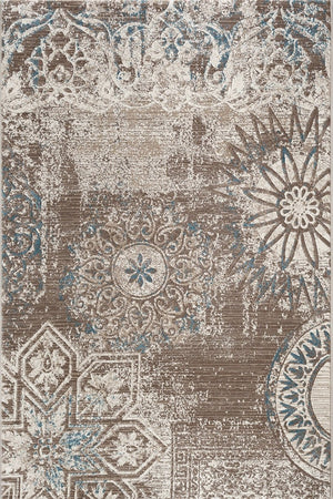 Fruzan Beige Distressed Contemporary Rug
