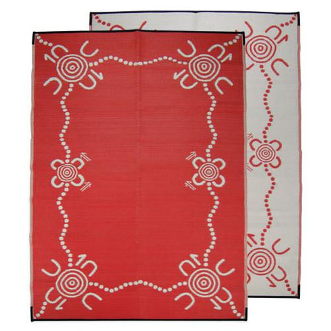 TRACKS Aboriginal Design Recycled Plastic Mat, Red & White 1.8 x 2.7m