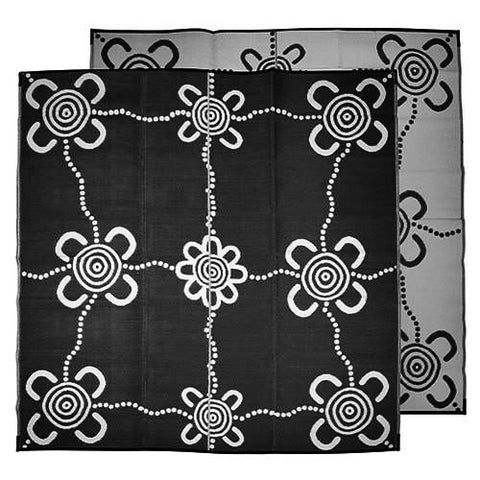 JOURNEYS Aboriginal Design Recycled Plastic Mat, Black & White 2.7m x 2.7m
