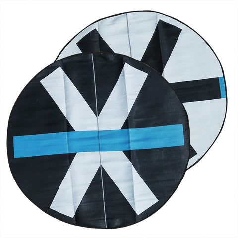 SITE Recycled Plastic Outdoor Rug, Light Blue, Black, White 3.0m