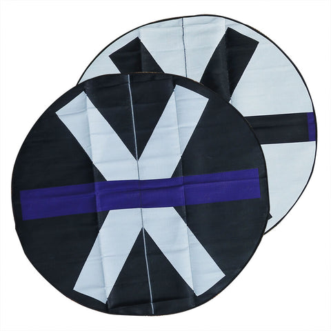 SITE Recycled Plastic Outdoor Rug, Violet, Black, White 3.0m