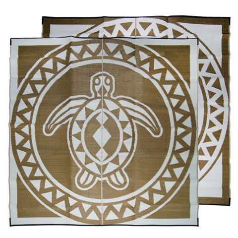 Recycled Outdoor Mat - TURTLE CIRCLE Torres Strait Island Design Mat, Bronze & White 2.7m x 2.7m