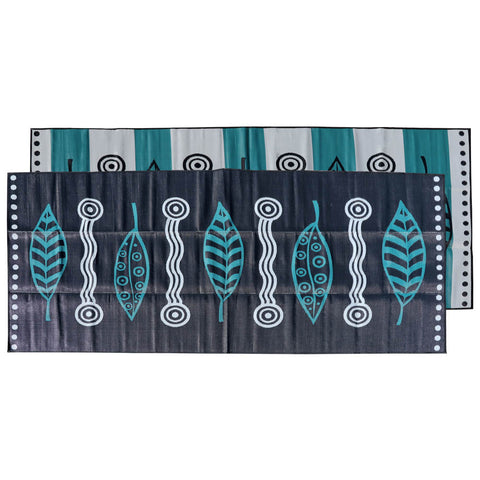GUM LEAVES & WATERHOLES Aboriginal Design Recycled Mat, Teal, Black and Grey 5x2.4m