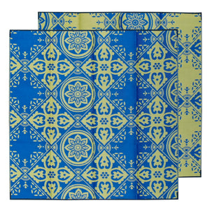 CASABLANCA Recycled Plastic Mat, Royal Blue and Gold 3 x 3m