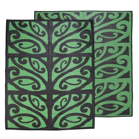 MANGOPARE New Zealand Design Recycled Plastic Mat - , Black & Green 1.8 x 2.7m