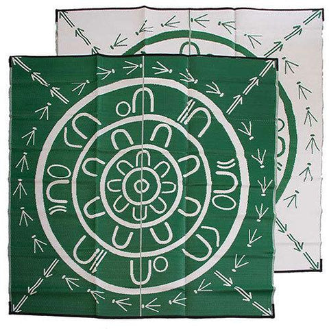 THE YARNING CIRCLE Aboriginal Design Recycled Plastic Mat, Green & White 2.7 x 2.7m