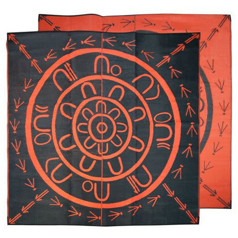 THE YARNING CIRCLE Aboriginal Design Recycled Mat, Orange & Black 2.7 x 2.7m