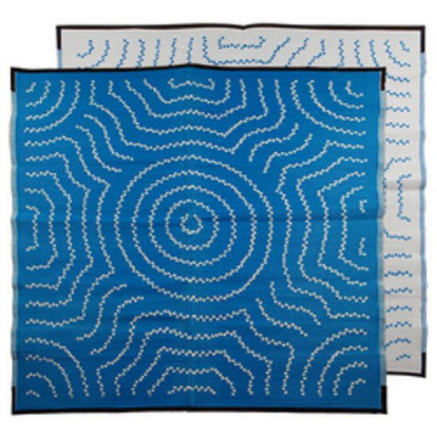 WATER DREAMING Aboriginal Design Recycled Mat, Blue & White 1.8 x 1.8m