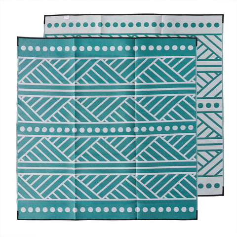 HIGH TIDE Recycled Plastic Outdoor Mat / Rug, Green & Grey 3x3m