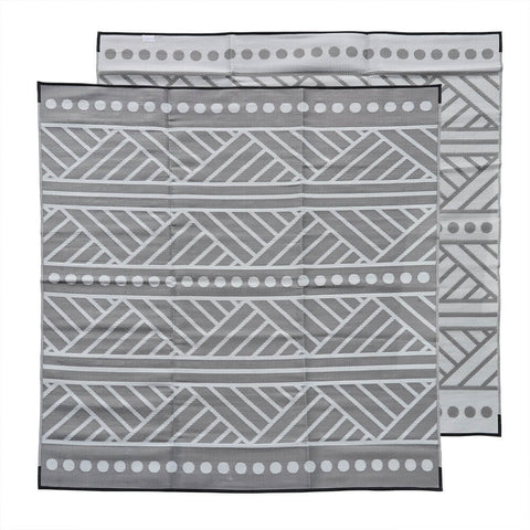 HIGH TIDE Recycled Plastic Outdoor Mat / Rug, Grey & Off White 3x3m