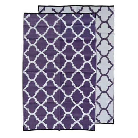 MOROCCAN Recycled Plastic Mat, AUBERGINE & White 1.8 x 2.7m
