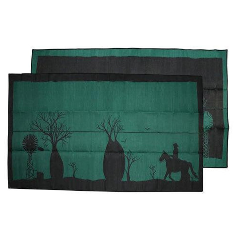 BOAB TREE Australia Design Recycled Plastic Mat, Teal Green & Black 2.4m x 4.0m - Floorsome