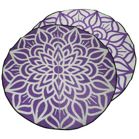 ANCESTRAL CONNECTEDNESS Mandala Design Recycled Plastic Mat, Violet & White 2.4m Diameter