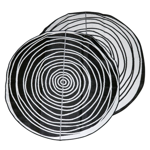 EVOLUTION Aboriginal Design Recycled Mat, Black & White 2.7m Round
