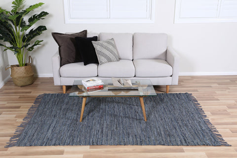 Metro Grey Modern Leather Rug