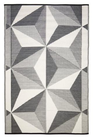 Outdoor Rug Recycled Plastic  - Geo Star Glacier Grey