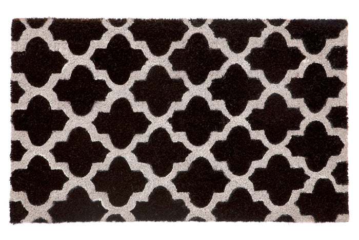 100% Coir Door Mat - Girih Black and White 75x45cm