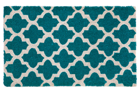100% Coir Door Mat - Girih Blue and White 90x60cm - Floorsome
