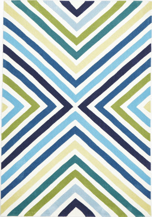 Cross Roads Design Rug Blue Green - Floorsome