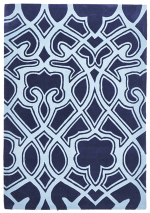 Gothic Tribal Design Rug Navy - Floorsome