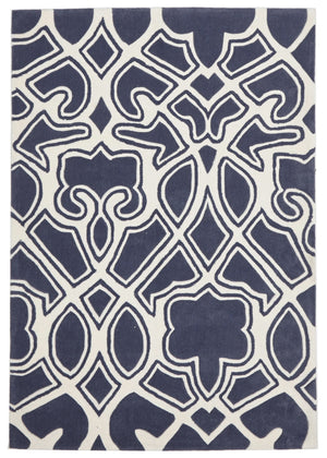 Gothic Tribal Design Rug Slate - Floorsome