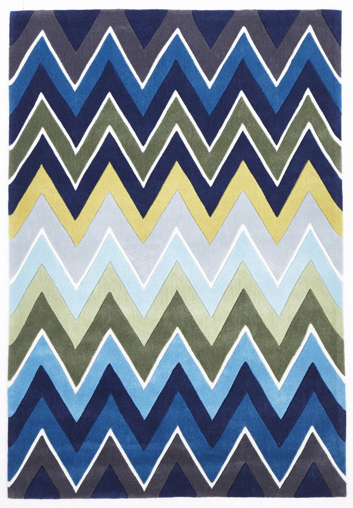 Eclectic Chevron Rug Navy Blue - Floorsome