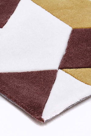 Cube Design Rug Yellow Brown White - Floorsome