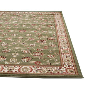 Traditional Floral Design Rug Green - Floorsome