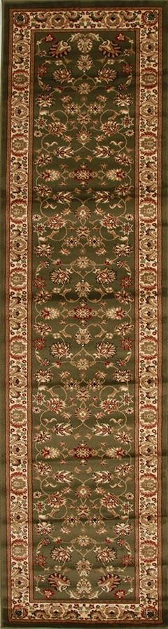 Traditional Floral Design Runner Rug Green