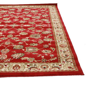 Traditional Floral Design Rug Red - Floorsome